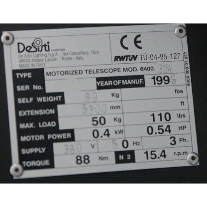 DeSisti 8400 Telescopic Studio Hoists