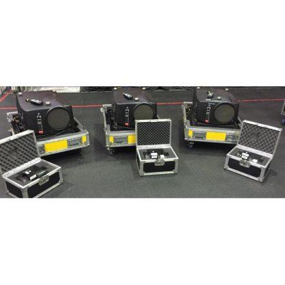 Set of 3 Barco SLM R12+ Projectors in Flight Cases plus a free 4th Projector in Flight Case for Spares